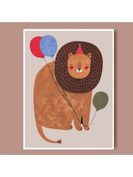 Party Lion Print A4