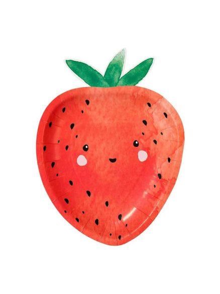 """Χάρτινα Πιάτα  Σχήμα """"Strawberry"""""""