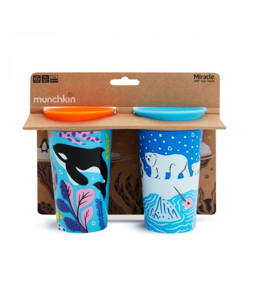2PK MIRACLE SIPPY CUP 266ML - POLAR/ORCA